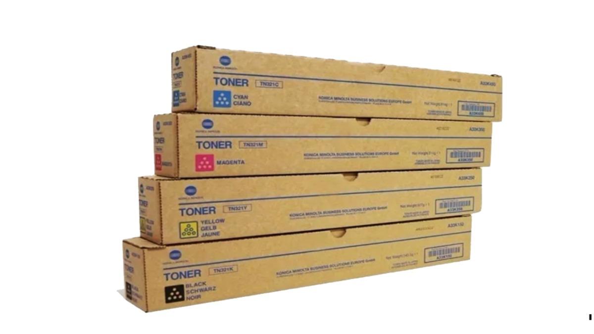 Kit toner per multifunzioni fotocopiatrici Konica Minolta / Develop TN 321 K-Y-M-C originale